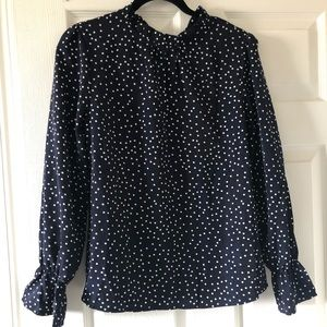 NWOT Shein - Navy Blue Polka Dot Blouse
